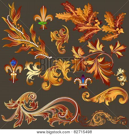 Heraldic Collection Of Vector Golden Decorative Swirls For Design