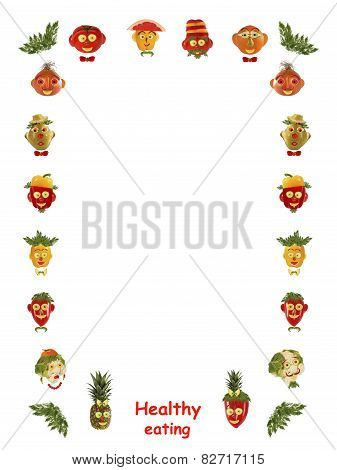 Healthy Eating. Different Faces,  Made Of Vegetables And Fruits - Frame.