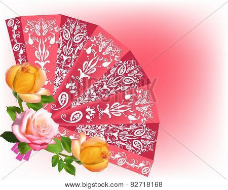 illustration with decorated fan on red background