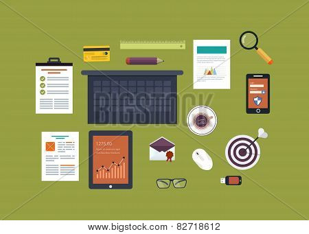 Flat design vector illustration concept icons set of business workflow and elements, electronic devi