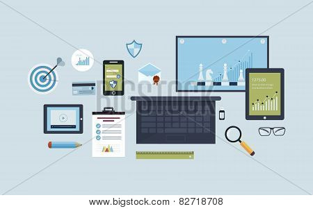 Flat design vector illustration infographic concept with icons set of modern business working elemen