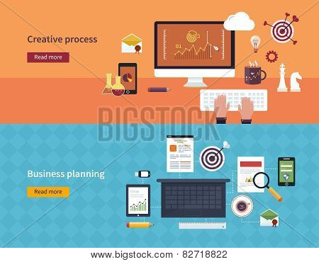 Set of flat design vector illustration concepts of creative process and business planning banners