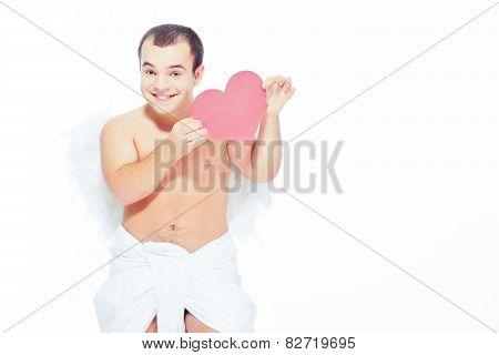 Little angel man with wings holding a paper heart