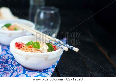 Chinese Asian Noodles Stir Fry With Vegetables
