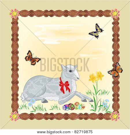 Easter Lamb Frame Vector