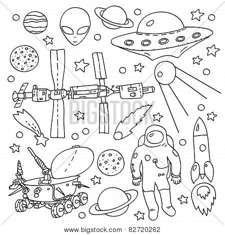 Doodle space elements collection in black and white: ISS, moonwalker, planet, comet, moon, astronaut