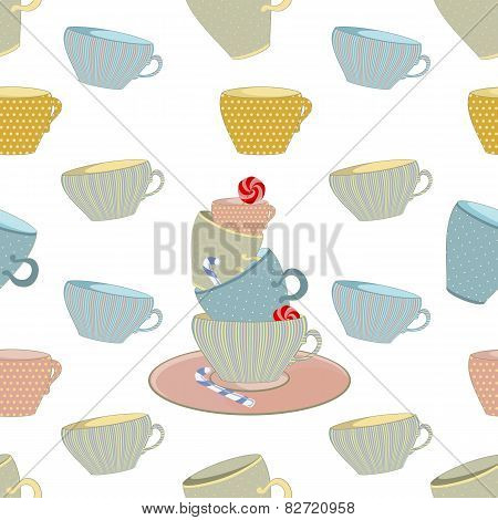 seamless background of the mug with sweets