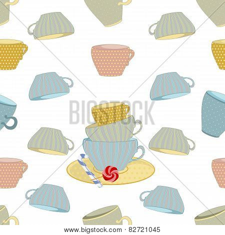 set of mugs on seamless background