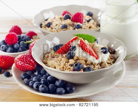 Healthy Breakfast With Ripe Fresh Berries  And  Muesli.