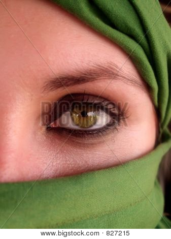 intense green eyes of arabian girl