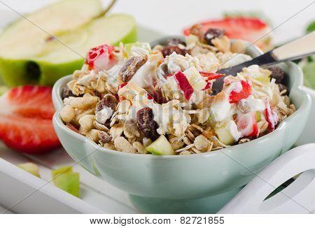 Muesli,yogurt And Fresh Fruits For Breakfast