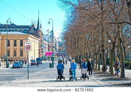 Oslo. Norway. People on Karl Johans Gate