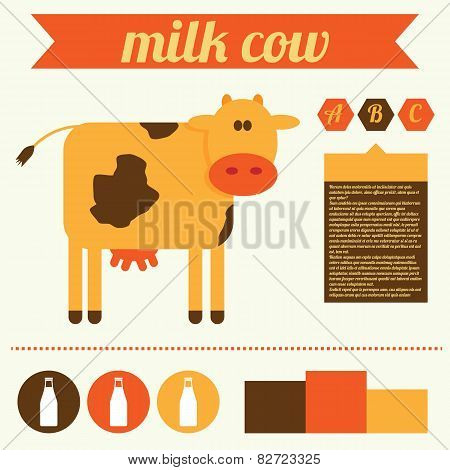 Cow And Milk Vector Illustration