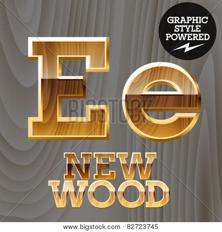 Vector wooden font with golden border. Letter E