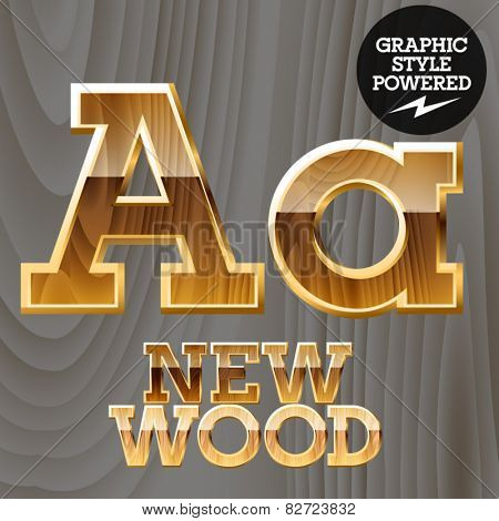 Vector wooden font with golden border. Letter A