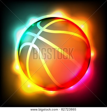 Glowing Basketball Illustration