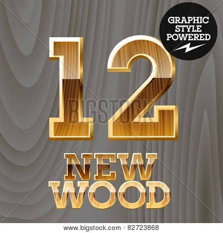 Vector wooden font with golden border. Numbers 1 2