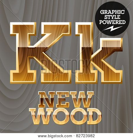 Vector wooden font with golden border. Letter K