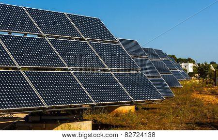 Solar panels in the landscape of the trulli of Alberobello.