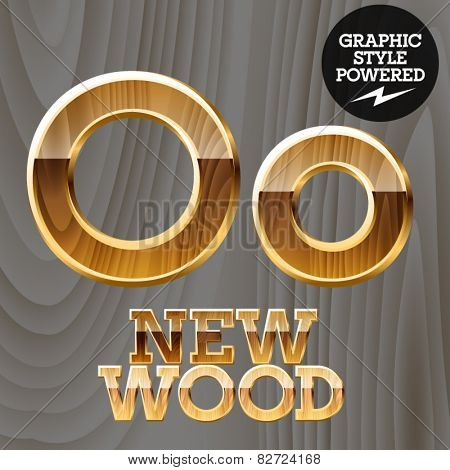 Vector wooden font with golden border. Letter O