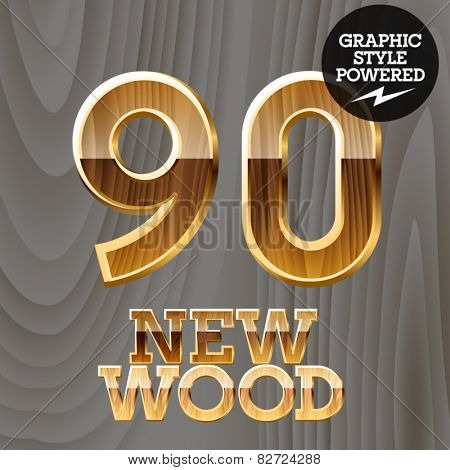 Vector wooden font with golden border. Numbers 9 0