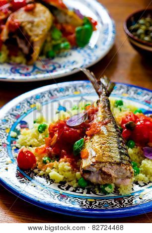 Fried Mackerel With Tomato Sauce And Couscous
