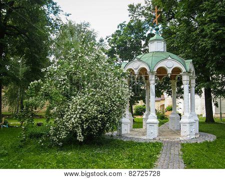 White Stone Arbor In Suzdal, Vladimir Region, Russia