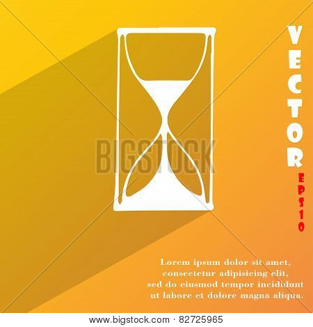 Hourglass  Icon Symbol Flat Modern Web Design With Long Shadow And Space For Your Text. Vector