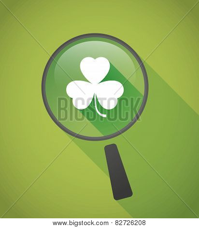 Magnifier Icon With A Clover