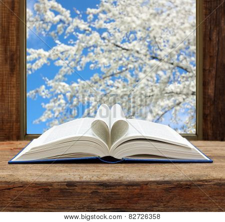 book heart shape page open window spring flowering cherry view