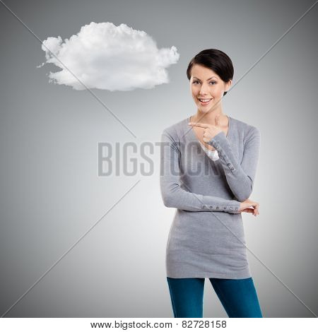 Pointing finger gesture, isolated on grey background with cloud