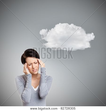 Girl has a headache, grey background with cloud