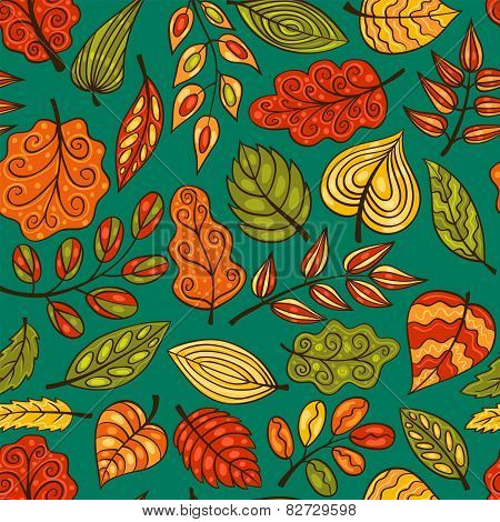 Blue Cartoon Hand-drawn Seamless Pattern With Leaves