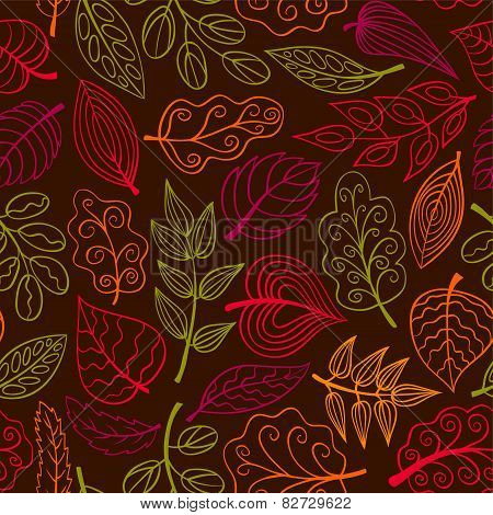 Hand-drawn Dark Seamless Pattern With Leaves