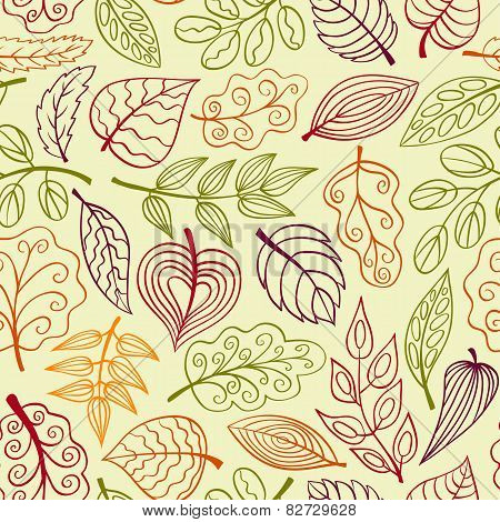 Hand-drawn Light Seamless Pattern With Leaves
