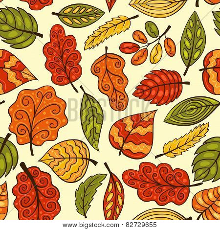 Beautiful Hand-drawn Seamless Pattern With Autumn Leaves