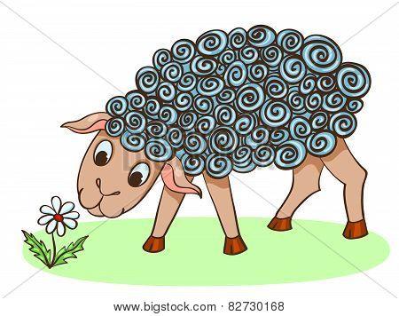 Cartoon Hand-drawn Cute Sheep With Flower