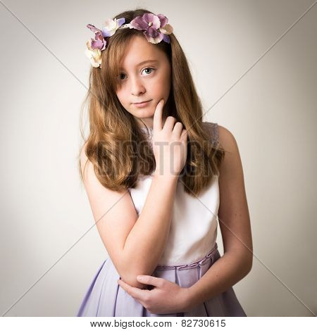 Ginger Teenage Girl With A Flower Tiara