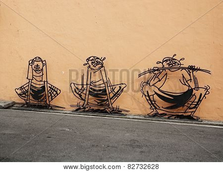 Malaysia, Penang, Georgetown - Circa Jul 2014: Three Dimensional Wall Art Depicting A Cartoon Style