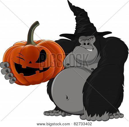 gorilla with a pumpkin