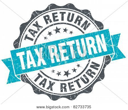 Tax Return Vintage Turquoise Seal Isolated On White
