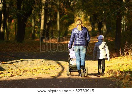 Woman With Perambulator And Elder Child In Park