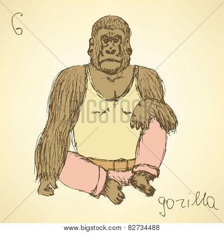 Sketch Fancy Gorilla In Vintage Style
