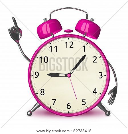 Pink Alarm Clock With Idea