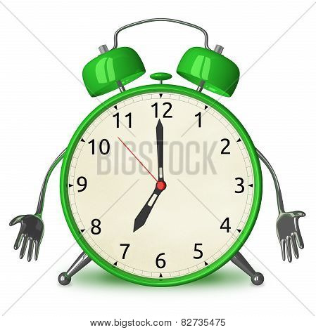 Sad Green Alarm Clock Character