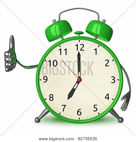 Green Alarm Clock Giving Thumb Up