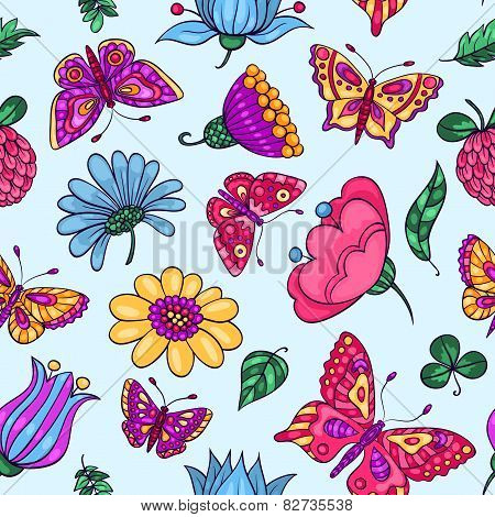 Seamless Pattern With Butterflies And Flowers Blue