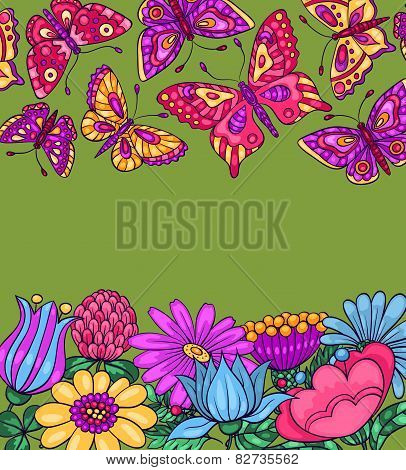 Card With Butterflies And Flowers Green