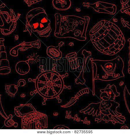 Pirate Seamless Pattern Red On Black
