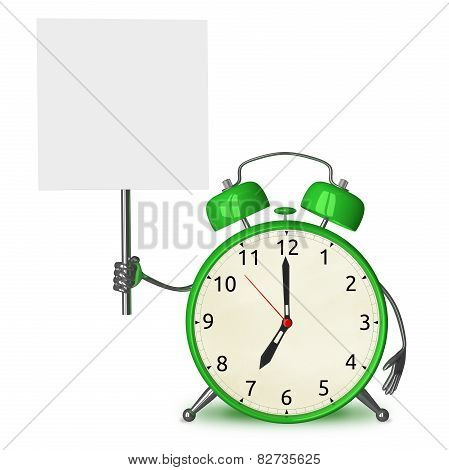 Green Alarm Clock With Placard
